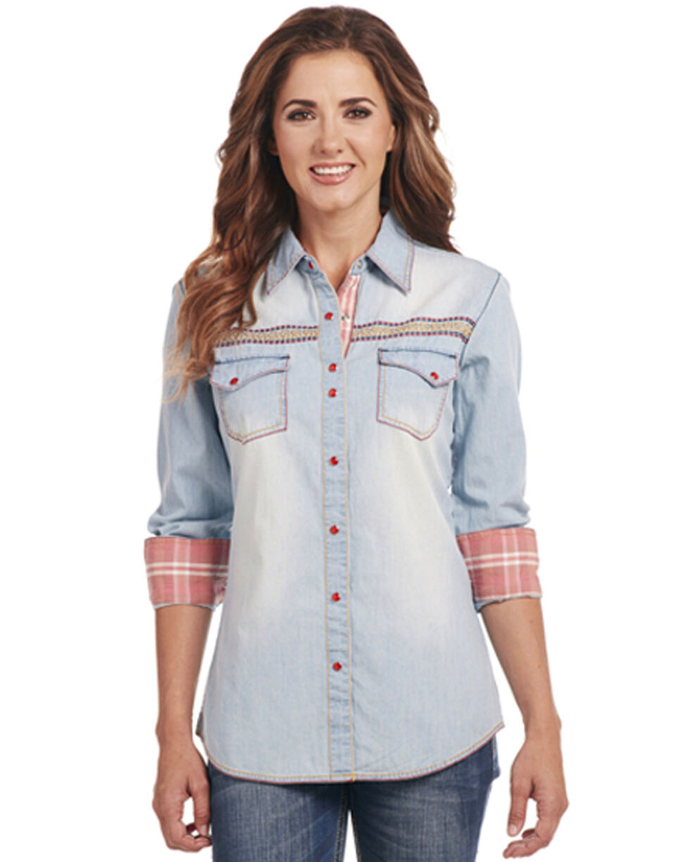 Cowgirl Up Women's Embroidered Long Sleeve Western Shirt, Indigo, hi-res