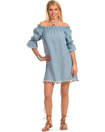Polagram Women's Off-the-Shoulder Denim Mini Dress, , hi-res