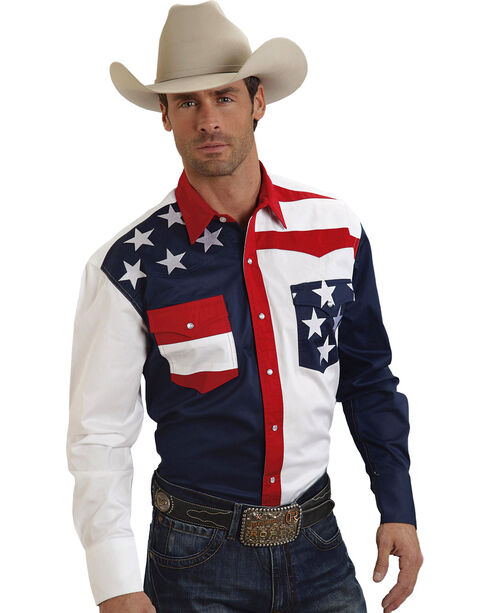 Roper Men's American Flag Long Sleeve Western Shirt, Patriotic, hi-res