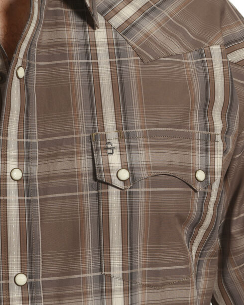 Stetson Men's Brown Mineral Plaid Western Shirt , Brown, hi-res
