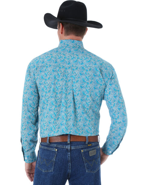 Wrangler George Strait Men's Paisley Long Sleeve Shirt, Turquoise, hi-res