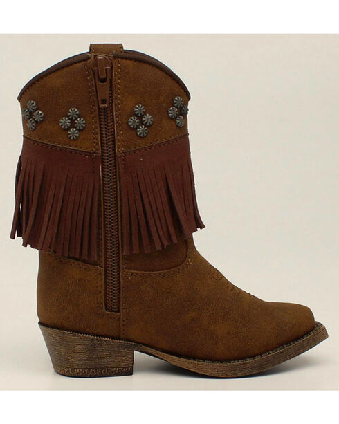 Blazin Roxx Toddler Girls' Zip Annabelle Fringe Boots - Snip Toe, Brown, hi-res