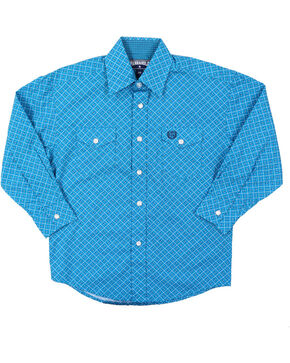 Panhandle Select Boys' Geo Pattern Long Sleeve Western Shirt, Turquoise, hi-res