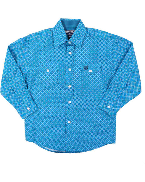 Panhandle Select Boys' Geo Pattern Long Sleeve Western Shirt, Turquoise, hi-res