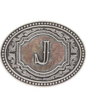 Montana Silversmiths Initial J Belt Buckle, Silver, hi-res