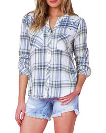 Miss Me Women's Green Embroidered Plaid Shirt , , hi-res