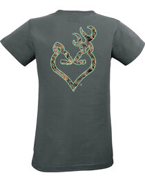 Browning Women's Mossy Oak Country Buckheart Charcoal Short Sleeve Tee, , hi-res