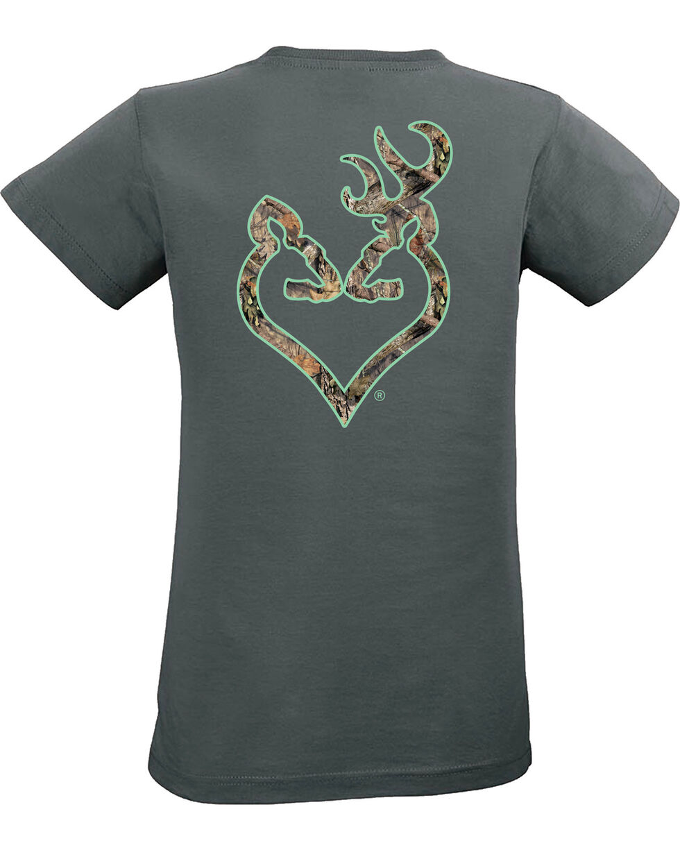 Browning Women's Mossy Oak Country Buckheart Charcoal Short Sleeve Tee, Charcoal Grey, hi-res