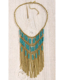 Shyanne Women's Gold and Turquoise Fringe Necklace, , hi-res
