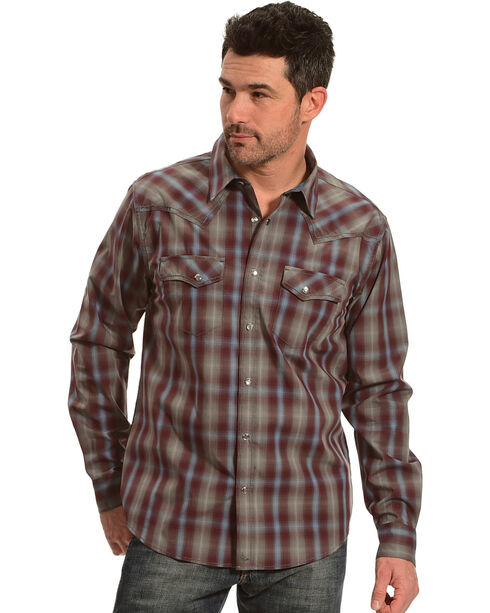 Cody James Men's Plaid Belton Long Sleeve Shirt, Maroon, hi-res