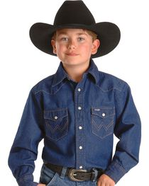 Wrangler Boy's Basic Western Solid Snap Shirt, , hi-res