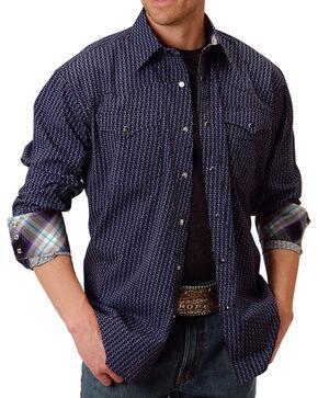 Roper Men's Contrast Trim Long Sleeve Shirt, Purple, hi-res