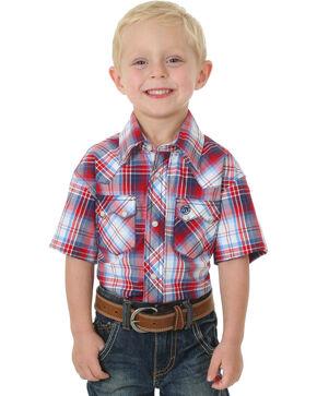 Wrangler Boys' Western Plaid Short Sleeve Shirt, Red, hi-res