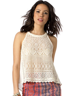 Miss Me Women's Lace Overlay Tank Top, Natural, hi-res