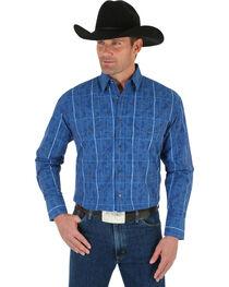 Wrangler George Strait Men's Blue Plaid Shirt, , hi-res