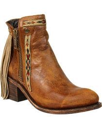 Corral Women's Fringe Zipper Short Boots - Medium Toe , , hi-res