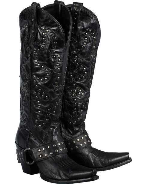 Lane Women's Stud Rocker Western Fashion Boots, Black, hi-res