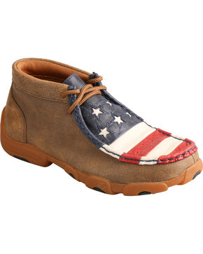 Twisted X Kid's VFW American Flag Moc Toe Driving Shoes, Bomber, hi-res