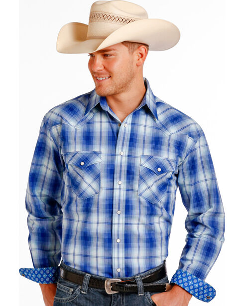 Rough Stock by Panhandle Men's Plaid Patterned Long Sleeve Shirt, Blue, hi-res