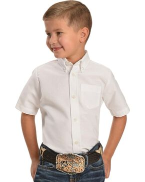 Dickies Boys' Oxford Short Sleeve Shirt - 10-16, White, hi-res