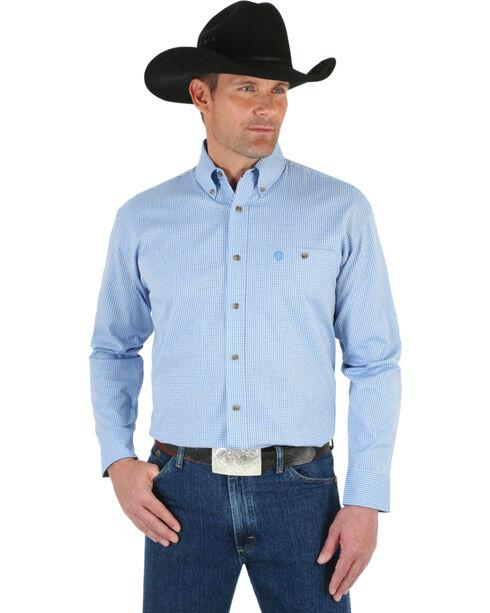 Wrangler George Strait Men's Check Patterned Long Sleeve Shirt, Blue, hi-res