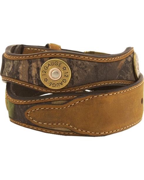 Nocona Mossy Oak Kids' 12-Gauge Leather Belt - 18-26, Camouflage, hi-res