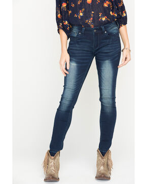 Grace in LA Women's Indigo Simple Design Jeans - Skinny , Indigo, hi-res