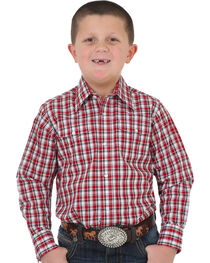 Wrangler Boys' Red Wrinkle Resistant Plaid Shirt , Red, hi-res