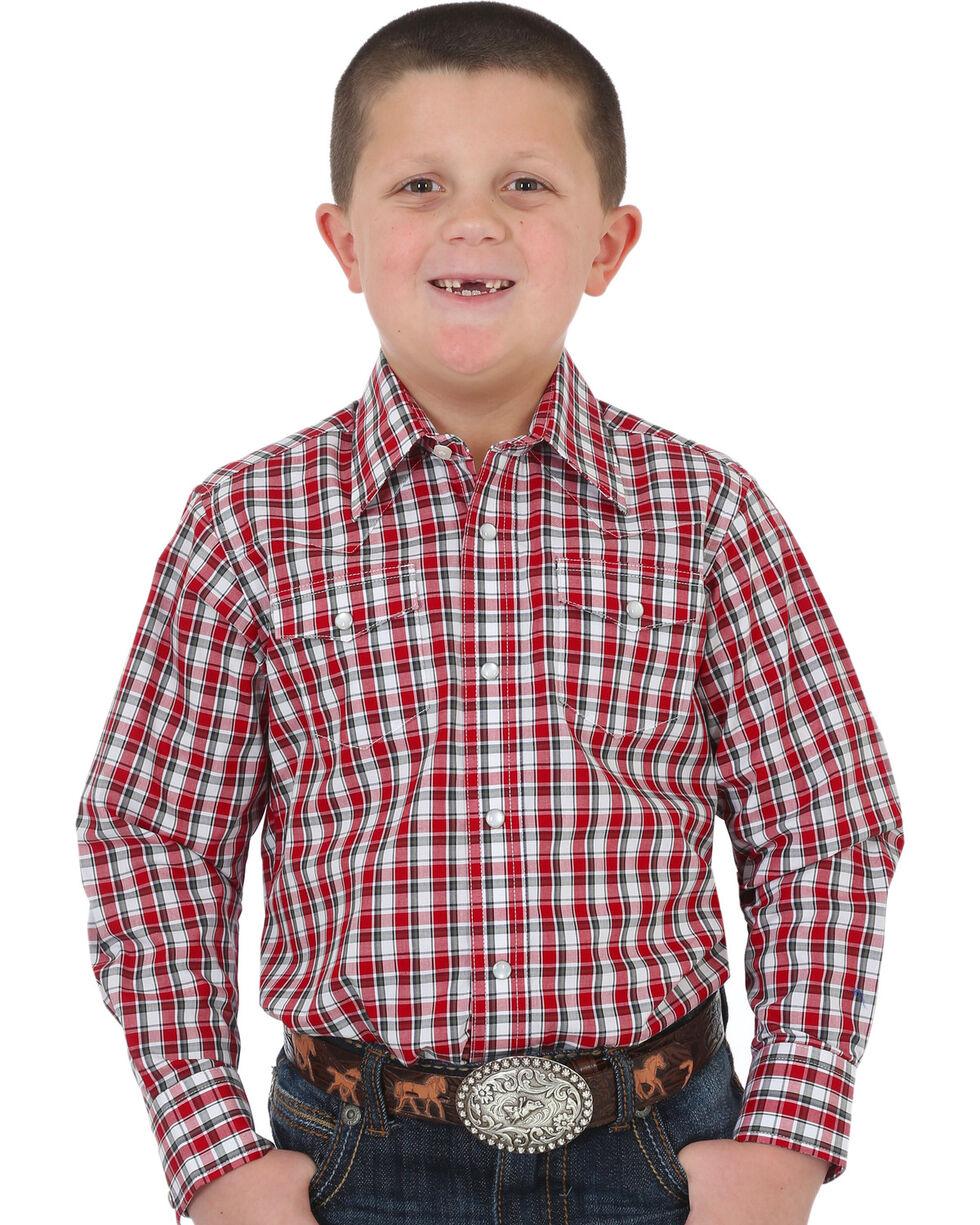 Wrangler Boys' Red Wrinkle Resistant Plaid Shirt , Red, hi-res