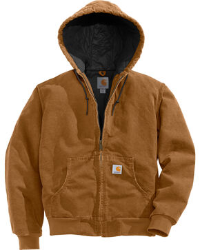 Carhartt Flannel Lined Sandstone Active Jacket - Big and Tall, Carhartt Brown, hi-res
