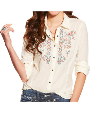Ariat Women's Embroidered Western Shirt, Ivory, hi-res