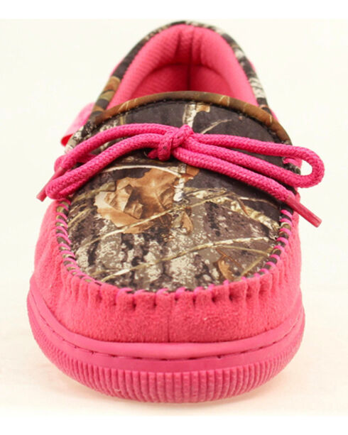 Blazin Roxx Women's All Weather Pink and Camo Moccasins, Pink, hi-res