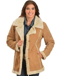 China Leather Women's Faux Fur-Lined Suede Coat, , hi-res