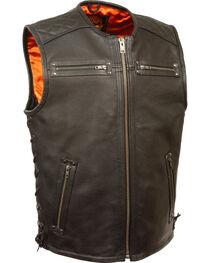 Milwaukee Leather Men's Zipper Front Full Side Lace Leather Vest - 5X, Black, hi-res