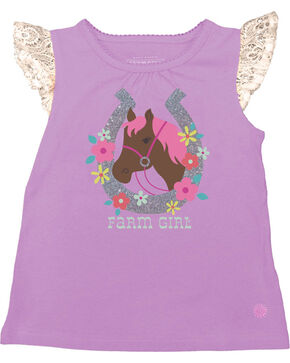 Farm Girl Infants' Horseshoe Flutter Sleeve Tank Top, Purple, hi-res