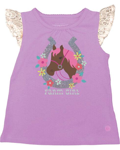 Farm Girl Infants' Horseshoe Flutter Sleeve Tank Top, Purple, hi-res