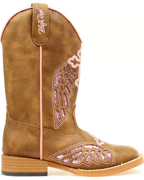 Blazin Roxx Girls' Gracie Wings and Cross Inlay Boots, Brown, hi-res