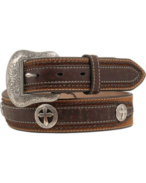 Nocona Distressed Cross Concho Belt, Med Brown, hi-res