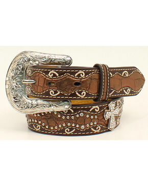 Ariat Girls' Rhinestone Cross Conchos Western Belt, Brown, hi-res
