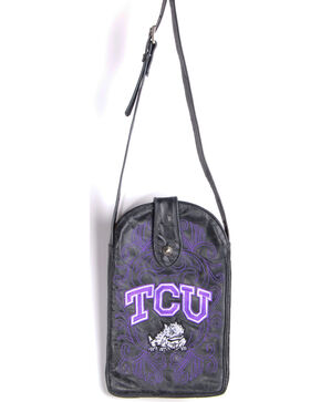 Gameday Boots Texas Christian University Crossbody Bag, Black, hi-res