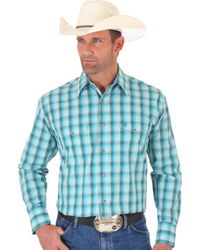 Wrangler George Strait Blue Green Plaid Two Pocket Snap Shirt, Multi, hi-res
