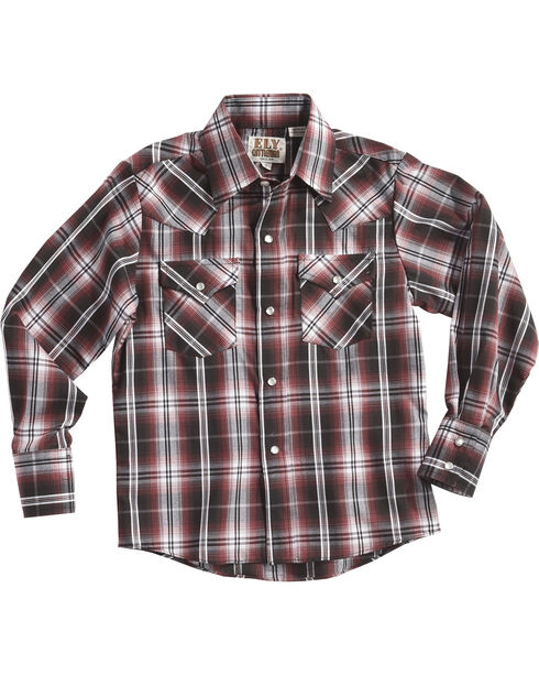 Ely Cattleman Boys' Red Textured Plaid Western Shirt , Red, hi-res