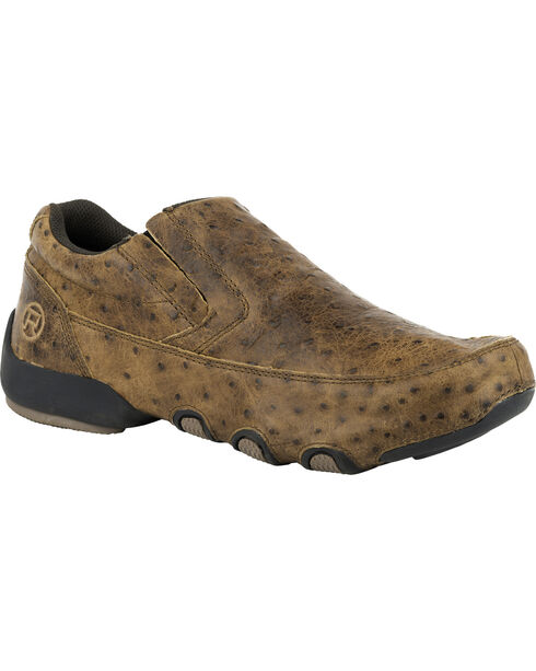 Roper Men's Country Cruisers Faux Ostrich Driving Moc Casual Shoes, Brown, hi-res