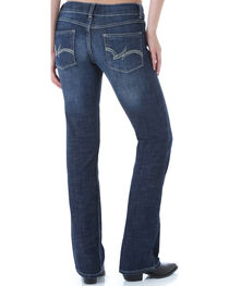 Wrangler Women's Dark Blue Premium Patch Bootcut Jeans, , hi-res