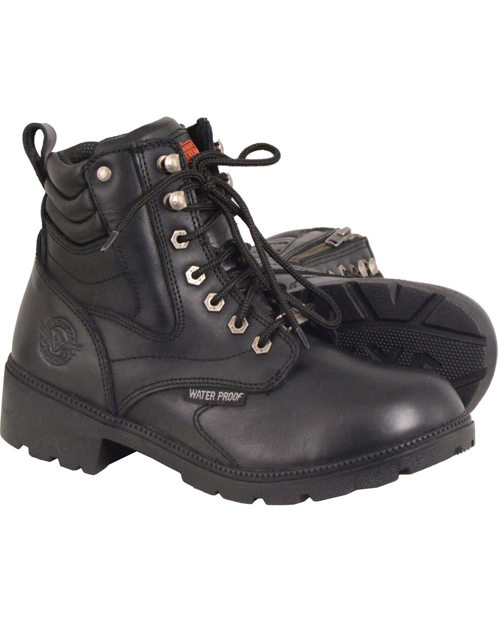 Milwaukee Leather Women's Waterproof Side Zipper Boots - Round Toe, Black, hi-res