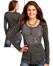 Panhandle Women's Lace Shoulder Henley Shirt , , hi-res