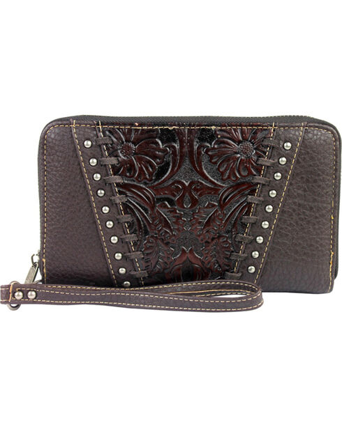 Trinity Ranch Women's Coffee Tooled Leather Wallet , Brown, hi-res