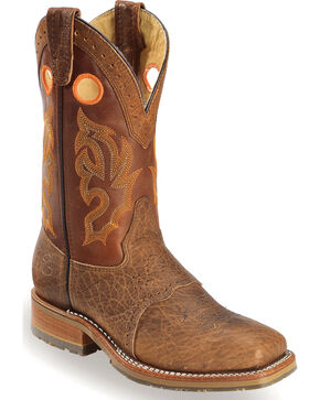Double-H Men's Steel Toe Western Boots, Brown, hi-res