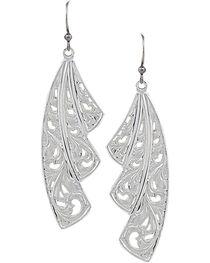 Montana Silversmiths Western Lace Fan Leaf Earrings, , hi-res