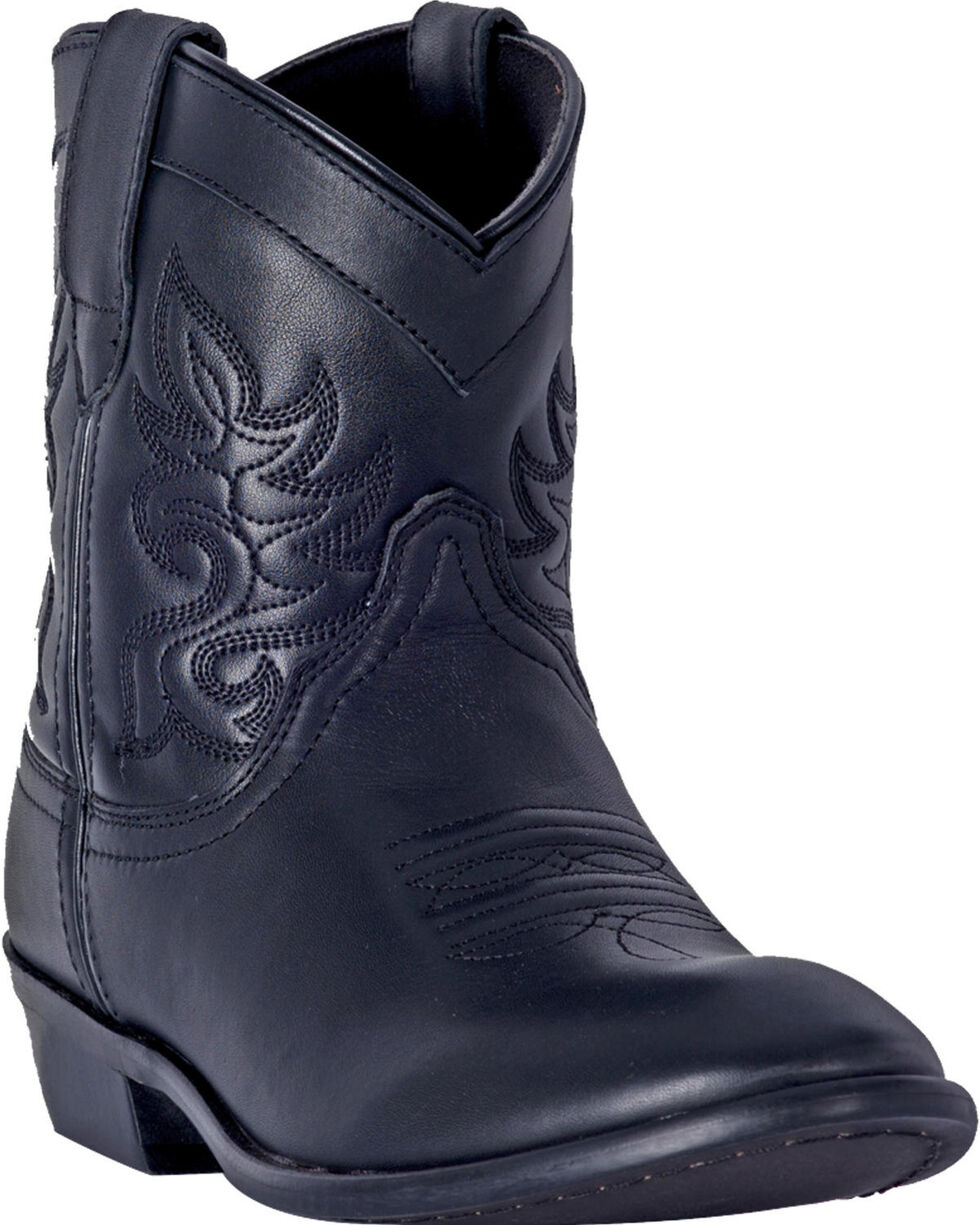 Dingo Women's Willie Black Leather Short Boots - Round Toe , Black, hi-res